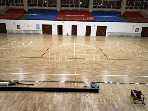 新疆某部队篮球馆木地板铺设工程